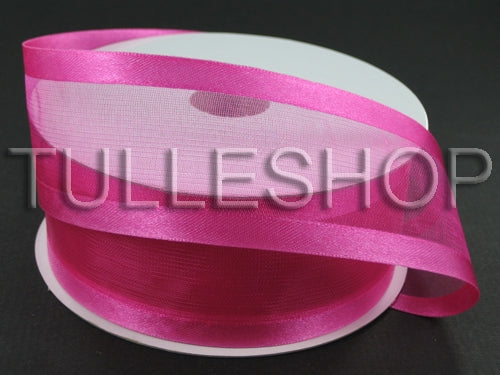 1-1/2 Inch Fuchsia Organza Ribbon Two Satin Edges