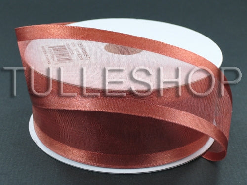 1-1/2 Inch Rust Organza Ribbon Two Satin Edges