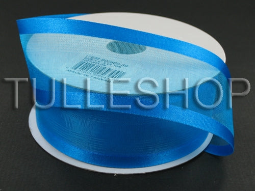 1-1/2 Inch Turquoise Organza Ribbon Two Satin Edges