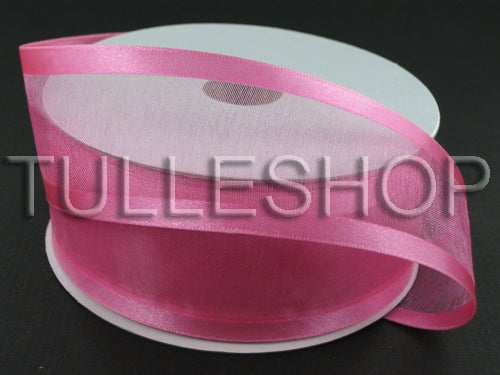 1-1/2 Inch Hot Pink Organza Ribbon Two Satin Edges