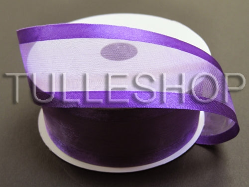 1-1/2 Inch Purple Organza Ribbon Two Satin Edges