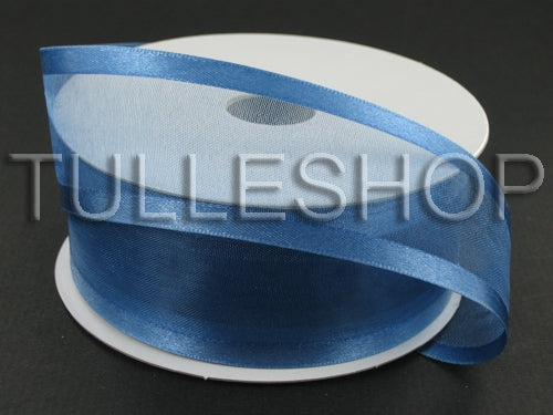 7/8 Inch Periwinkle Organza Ribbon Two Satin Edges