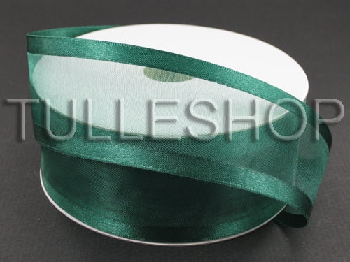 7/8 Inch Hunter Green Organza Ribbon Two Satin Edges