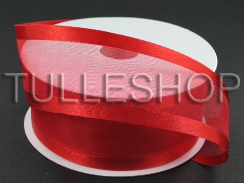 7/8 Inch Red Organza Ribbon Two Satin Edges
