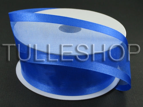 7/8 Inch Royal Blue Organza Ribbon Two Satin Edges