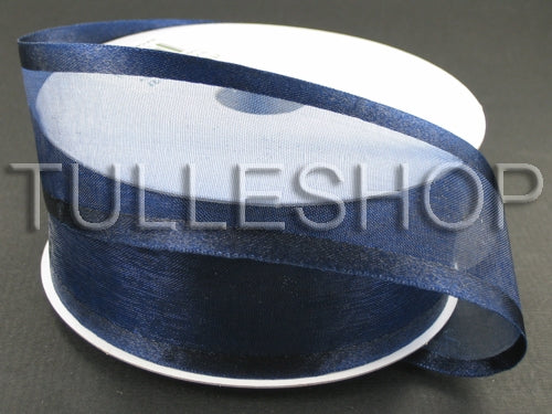 7/8 Inch Navy Blue Organza Ribbon Two Satin Edges