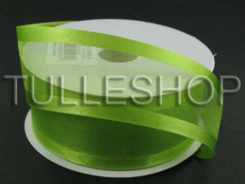 7/8 Inch Kiwi Green Organza Ribbon Two Satin Edges