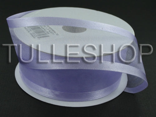 7/8 Inch Lavender Organza Ribbon Two Satin Edges