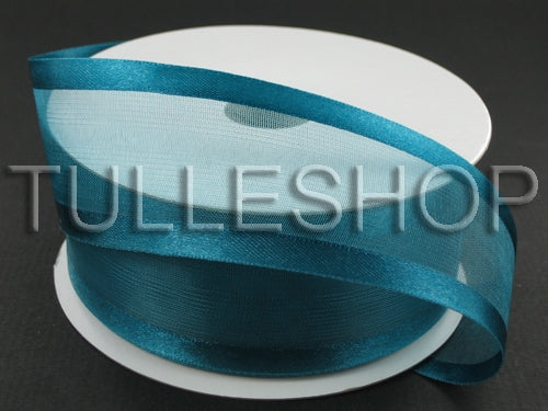 7/8 Inch Teal Organza Ribbon Two Satin Edges