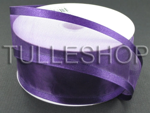 7/8 Inch Eggplant Organza Ribbon Two Satin Edges