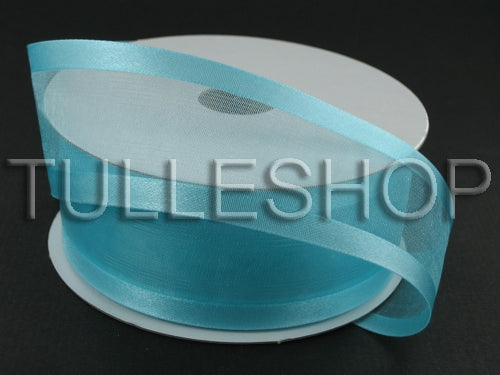 7/8 Inch Aqua Blue Organza Ribbon Two Satin Edges