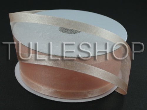 5/8 Inch Peach Organza Ribbon Two Satin Edges