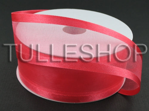 5/8 Inch Watermelon Organza Ribbon Two Satin Edges