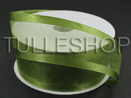 3/8 Inch Spring Moss Organza Ribbon Two Satin Edges