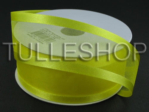 3/8 Inch Yellow Organza Ribbon Two Satin Edges