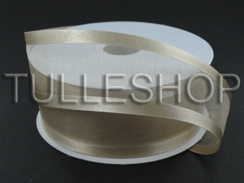3/8 Inch Tan Organza Ribbon Two Satin Edges
