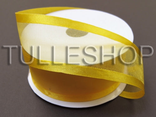 3/8 Inch Light Gold Organza Ribbon Two Satin Edges