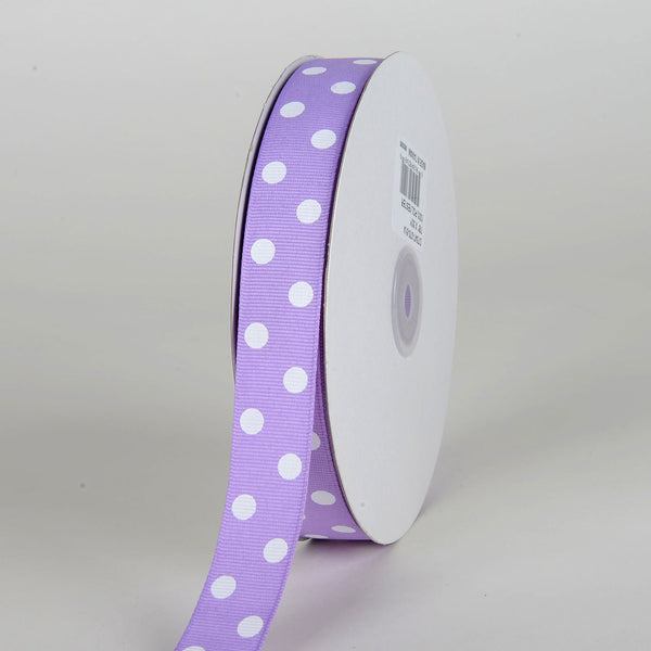 Grosgrain Ribbon Polka Dot Lavender with White Dots ( 7/8 inch | 50 Yards )