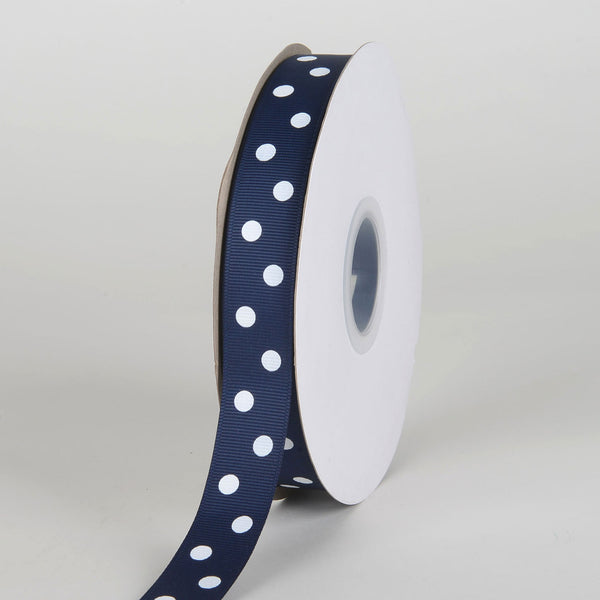 Grosgrain Ribbon Polka Dot Navy with White Dots ( 7/8 inch | 50 Yards )