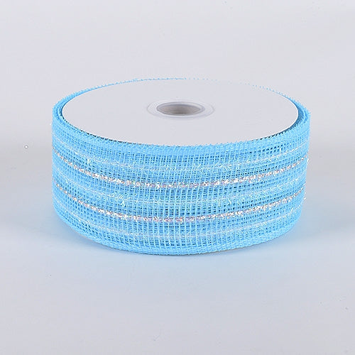 Light Blue - Laser Metallic Mesh Ribbon - ( 2-1/2 inch x 25 Yards )