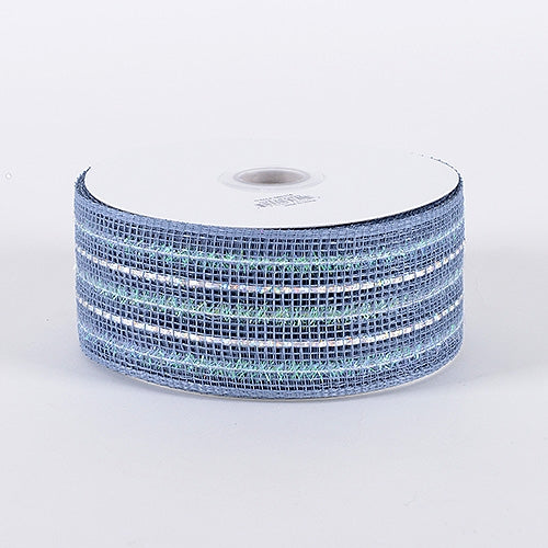 Silver - Laser Metallic Mesh Ribbon - ( 2-1/2 inch x 25 Yards )