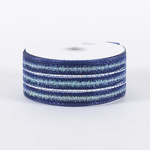 Navy - Laser Metallic Mesh Ribbon - ( 2-1/2 inch x 25 Yards )