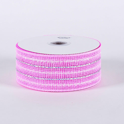 Light Pink - Laser Metallic Mesh Ribbon - ( 4 Inch x 25 Yards )