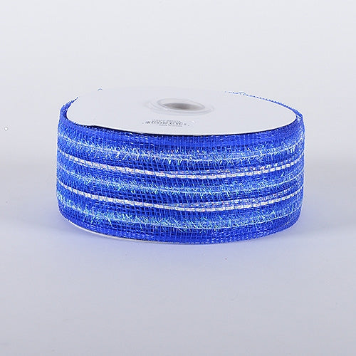Royal - Laser Metallic Mesh Ribbon - ( 4 Inch x 25 Yards )