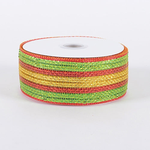 Red Old Gold - Laser Metallic Mesh Ribbon - ( 4 Inch x 25 Yards )