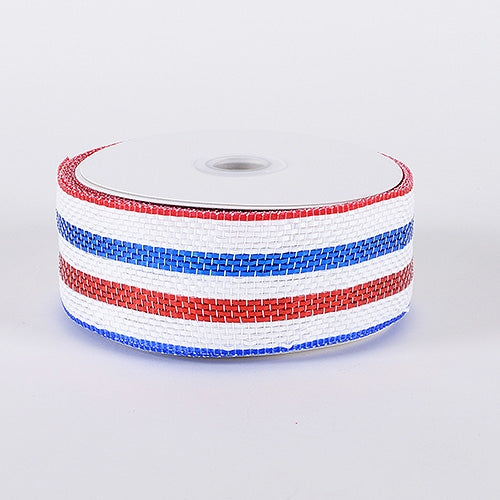 Laser Metallic Mesh Ribbon Red White Blue ( 4 Inch x 25 Yards )