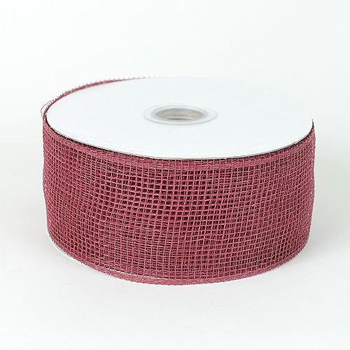 Burgundy - Floral Mesh Ribbon - ( 2-1/2 inch x 25 Yards )