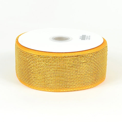 Lt.Gold Floral Mesh Ribbon - 2.5 Inch x 25 Yards