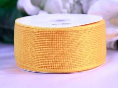 Gold Floral Mesh Ribbon - 4 Inch x 25 Yards