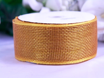 Brown - Floral Mesh Ribbon - ( 4 Inch x 25 Yards )