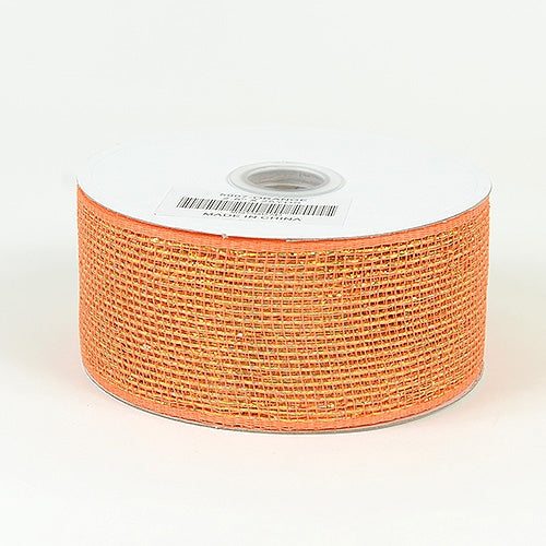 Orange - Metallic Deco Mesh Ribbons - ( 2.5 inch x 25 yards )