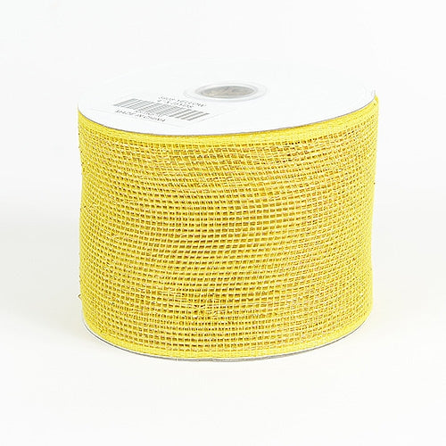 Yellow - Metallic Deco Mesh Ribbons - ( 4 inch x 25 yards )