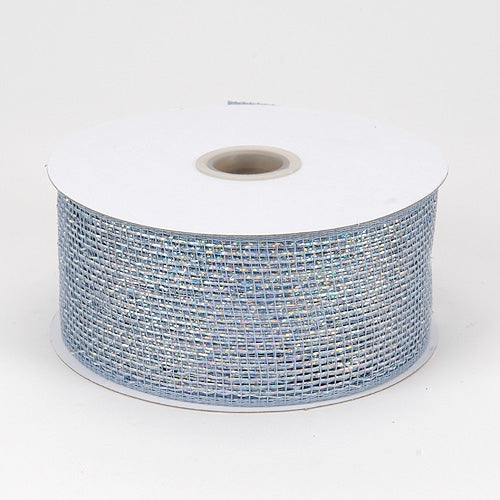 Silver - Metallic Deco Mesh Ribbons - ( 4 inch x 25 yards )