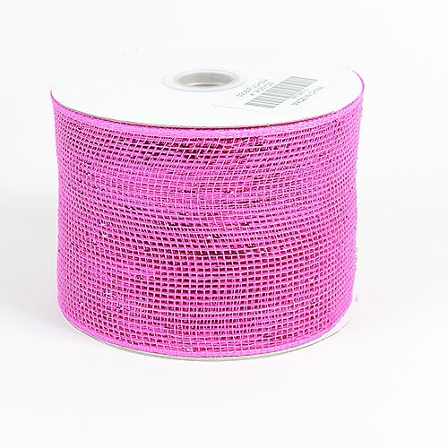 Fuchsia - Metallic Deco Mesh Ribbons - ( 4 inch x 25 yards )