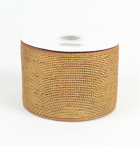 Chocolate - Metallic Deco Mesh Ribbons - ( 4 inch x 25 yards )