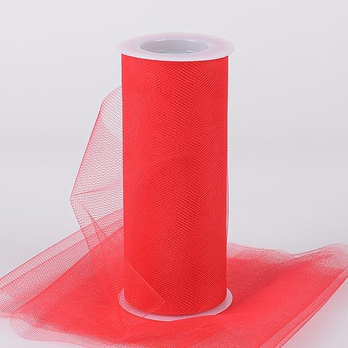 Red 12 Inch Tulle Fabric Roll 25 Yards