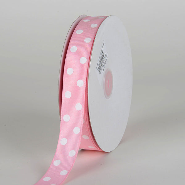 Grosgrain Ribbon Polka Dot Light Pink With White Dots ( 7/8 inch | 50 Yards )