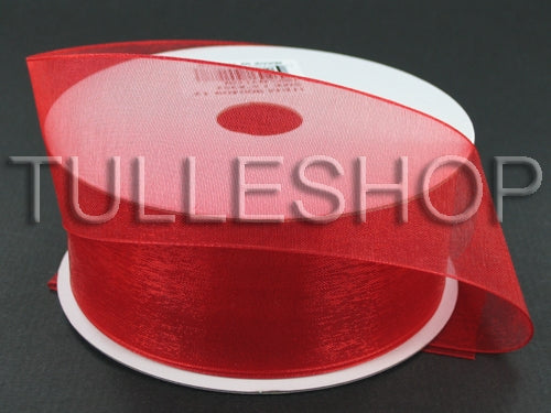 1-1/2 Inch Red Organza Ribbons