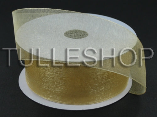 1-1/2 Inch Gold Organza Ribbons