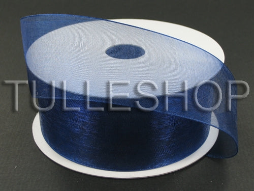 1-1/2 Inch Navy Blue Organza Ribbons