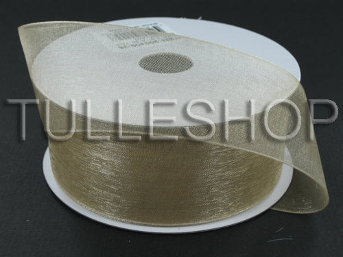 1-1/2 Inch Tan Organza Ribbons