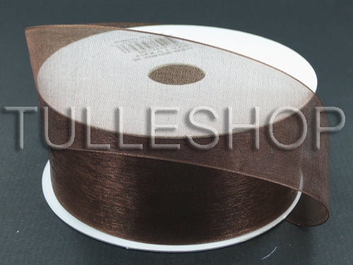 1-1/2 Inch Brown Organza Ribbons