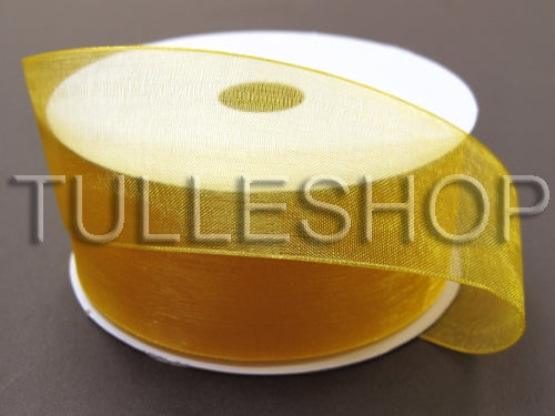 1-1/2 Inch Light Gold Organza Ribbons