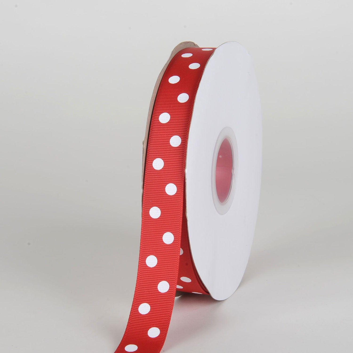 Grosgrain Ribbon Polka Dot Red with White Dots ( 7/8 inch | 50 Yards )