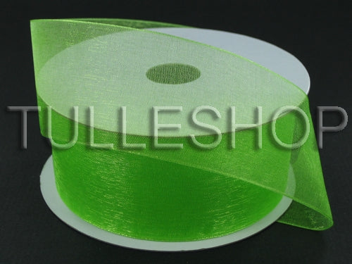 7/8 Inch Lime Green Organza Ribbons