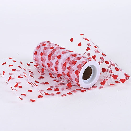 Red - Flocking Heart Tulle Roll - ( 6 inch|10 Yards )